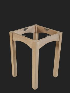 4 Legged Table Base with Curved Cut Out in Rails
