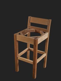 Iroko High Stool