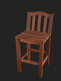Iroko High Stool with Slatted Seat