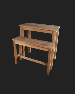Iroko Poseur Table and High Bench with Slatted Tops and Seats