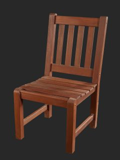 Iroko Side Chair with Slatted Seat