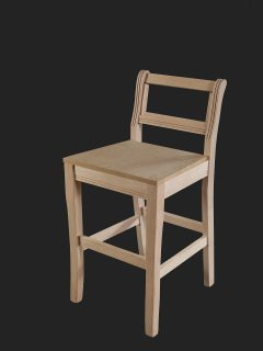 Sabre Leg High Stool with a Fluted Back